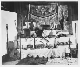 Artifacts: textiles, woven baskets, kayak paddles
