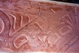 Wood relief carving, close up