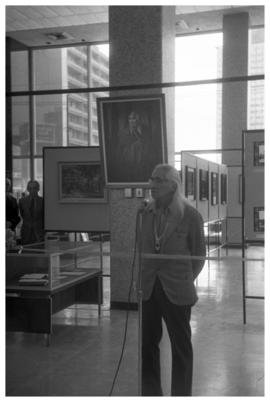 [Chief Dan George, Centennial opening of display, Vancouver Public Library with painting of Dan G...