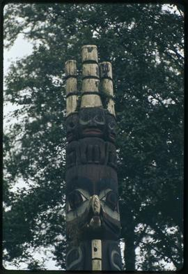 Top of eagle chief's pole of Tanu (original), Fulton Street Park, Prince Rupert, B.C.