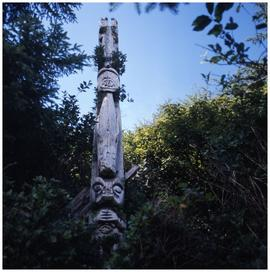 [The only standing totem left at Uchucklesaht, Vancouver Island]