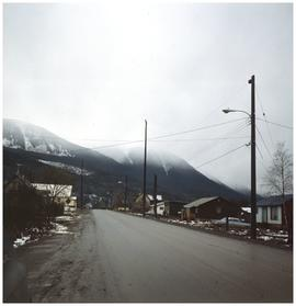 Mountains and residential road