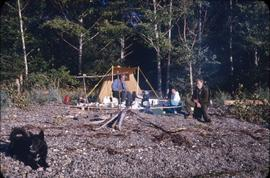 Slate Chuck Camp, Q.C.I. [tent on beach]