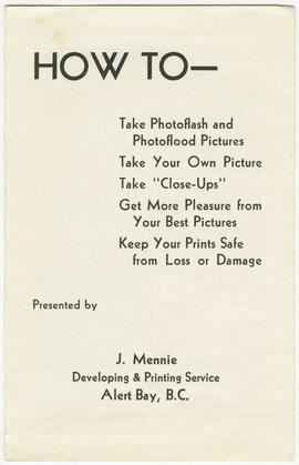 A pamphlet of instructions for photography