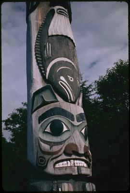 Closeup of pole at Totem Bite [Bight] Park, Ketchikan, Alaska