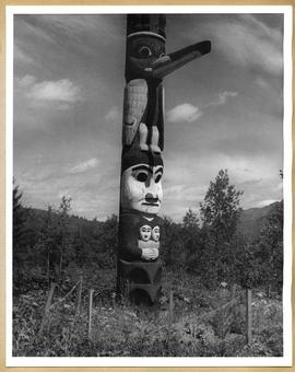 Totem pole with Raven
