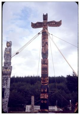 From all over the place, raising totem in Alert Bay