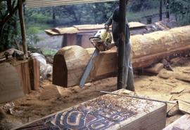 Carving the Saint Catherine totem pole