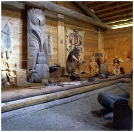 Interior of [Ksan] village long house, Haselton, BC