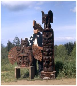 Jimmie John (92 yrs), Cecilia John (83 yrs), Last of Jimmie's carvings