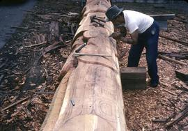 Carving a pole, early stages