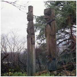 [Old totem poles in Gitsegukla]