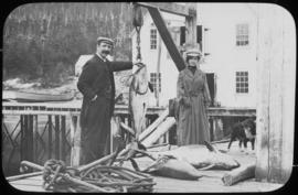 Rev. J.B. McCullagh, Miss Chambers & a porpoise