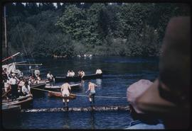 Log rolling, Sports Day, Somass River, Port Alberni