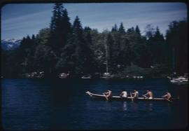 Canoe race, Sports Day, Somass River, Port Alberni