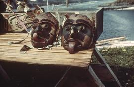 Two masks on table