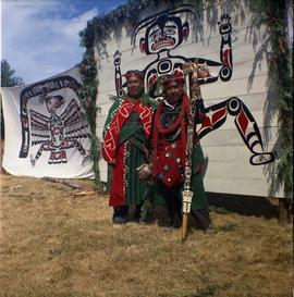 Two men in ceremonial dress, Alert Bay