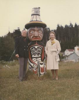 Governor and Mrs. Michener with short totem at Alert Bay