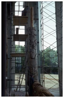 Totem pole installation, Museum of Anthropology