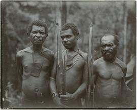 [Local men] heights about 4 ft. 7, 4 ft. 6 and 4 ft. 3 [New Guinea]