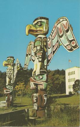 Kwakiutl Totem Poles outside St. Michael's Indian Residential School