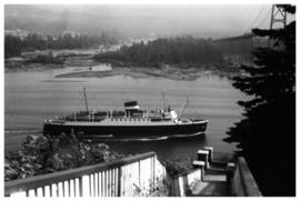 Ship sailing toward the inner harbour of Burrard Inlet