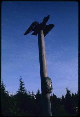 Raven and frog pole #2 (replica), Saxman Park, Ketchikan, Alaska